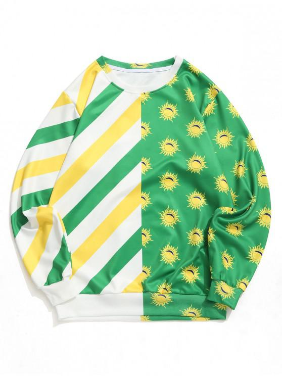 outfits Brazilian Flag Color Block Sun Graphic Print Pullover Sweatshirt - MULTI 2XL