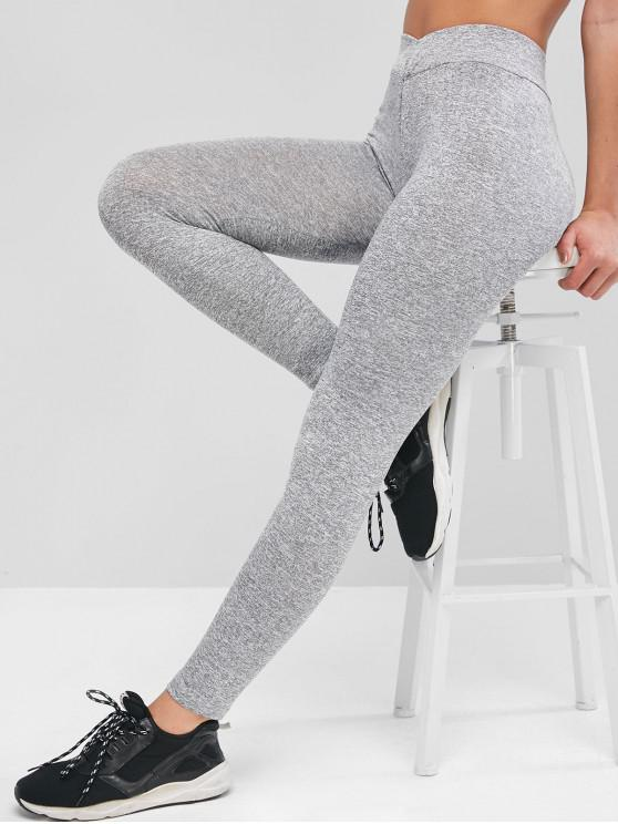 lady Marled Space Dye High Rise Stretchy Leggings - LIGHT GRAY M