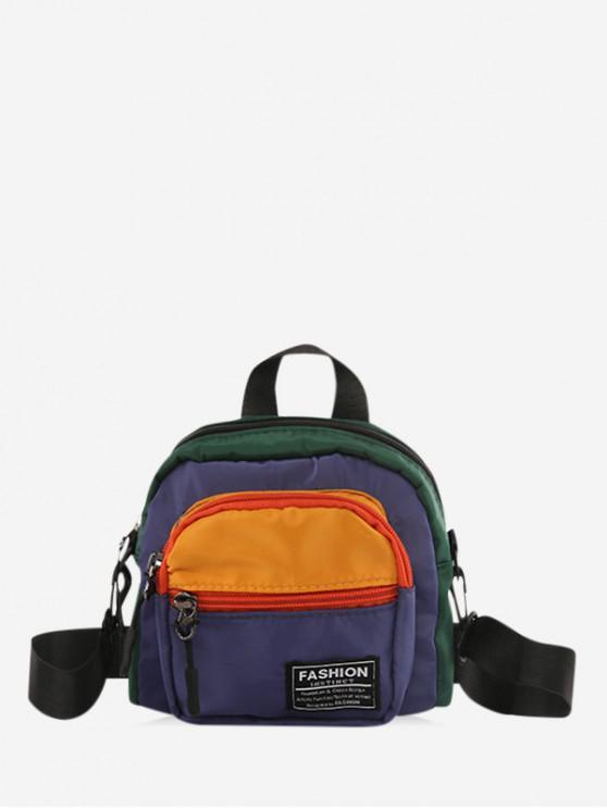lady Color Block Casual Mini Crossbody Bag - YELLOW
