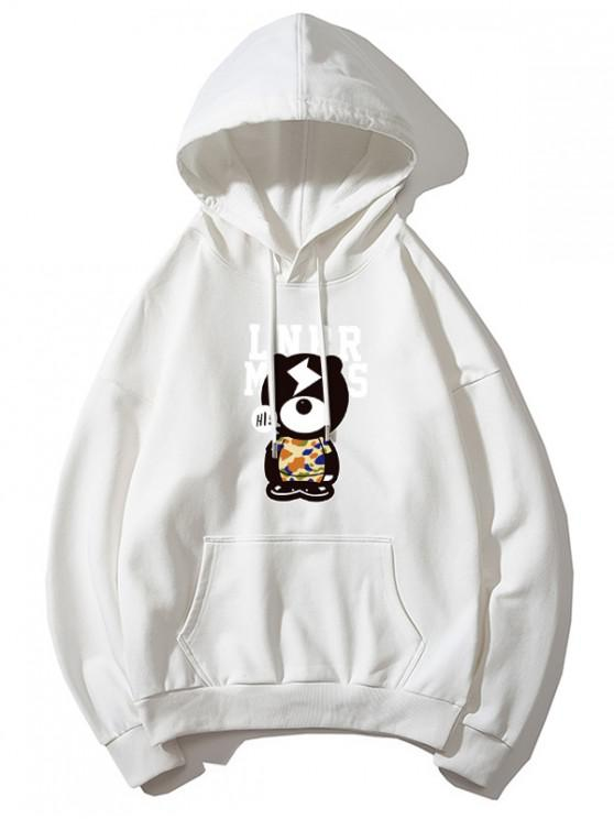 affordable Cartoon Bear and Letter Print Kangaroo Pocket Hoodie - WHITE L