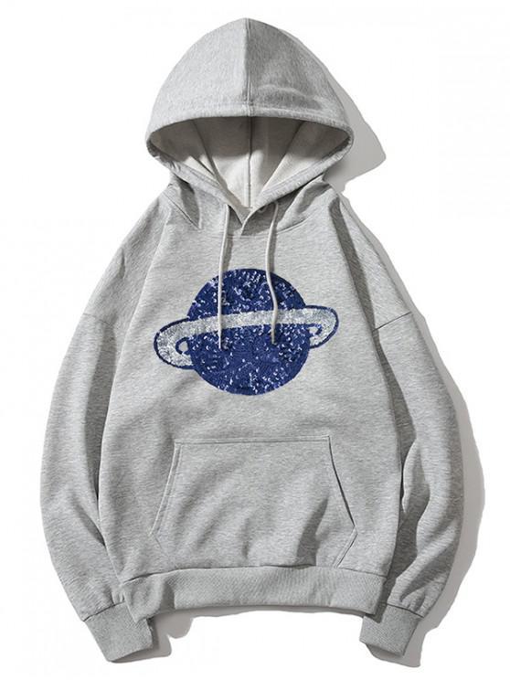 Sudadera con capucha estampada Planet - Gris S