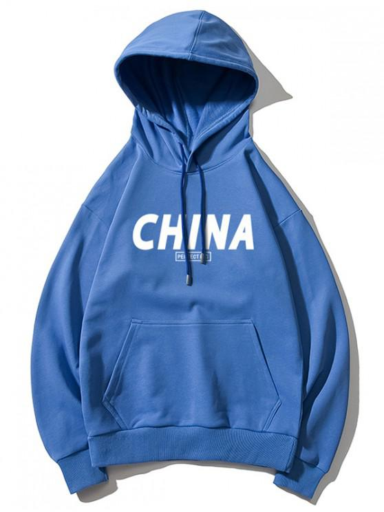 ladies China Pattern Print Hoodie - BLUE L