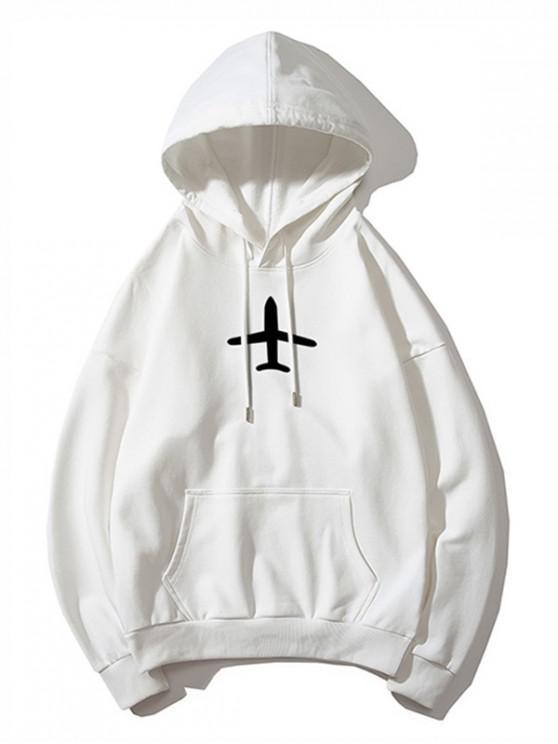 womens Airplane Printed Hoodie - WHITE XS