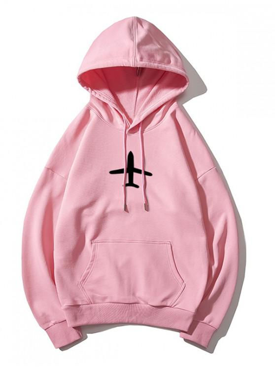 hot Airplane Printed Hoodie - PINK M