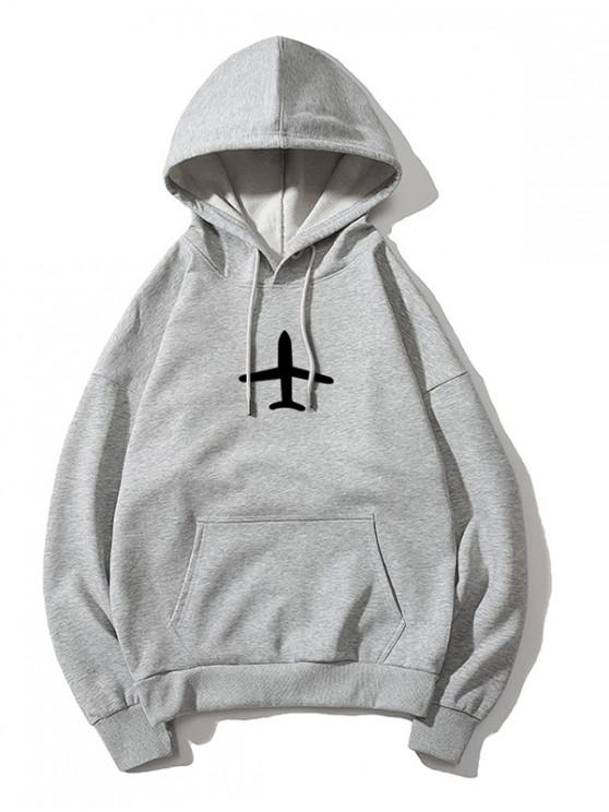 sale Airplane Printed Hoodie - GRAY XS