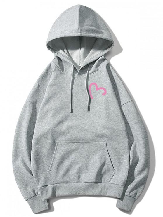 buy Incomplete Heart Print Kangaroo Pocket Hoodie - GRAY M