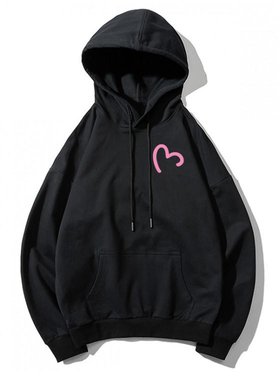 ladies Incomplete Heart Print Kangaroo Pocket Hoodie - BLACK M
