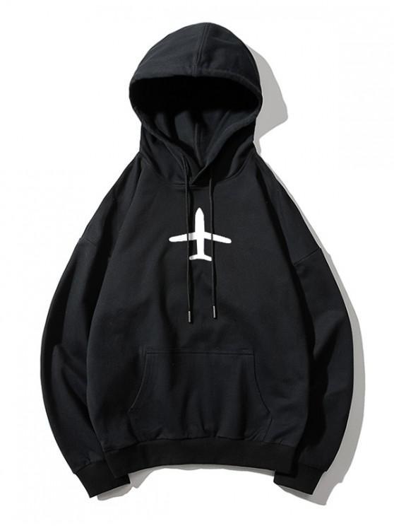 shop Airplane Printed Hoodie - BLACK XL