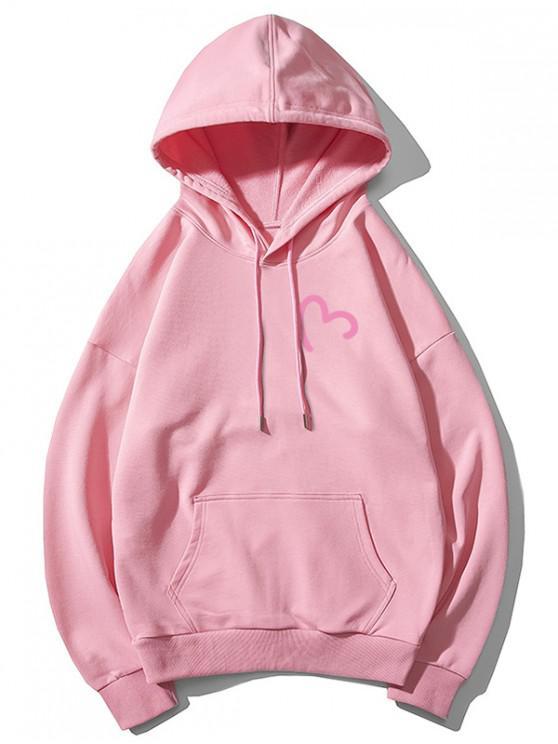 buy Incomplete Heart Print Kangaroo Pocket Hoodie - PINK XS