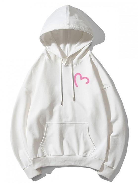 women Incomplete Heart Print Kangaroo Pocket Hoodie - WHITE XS