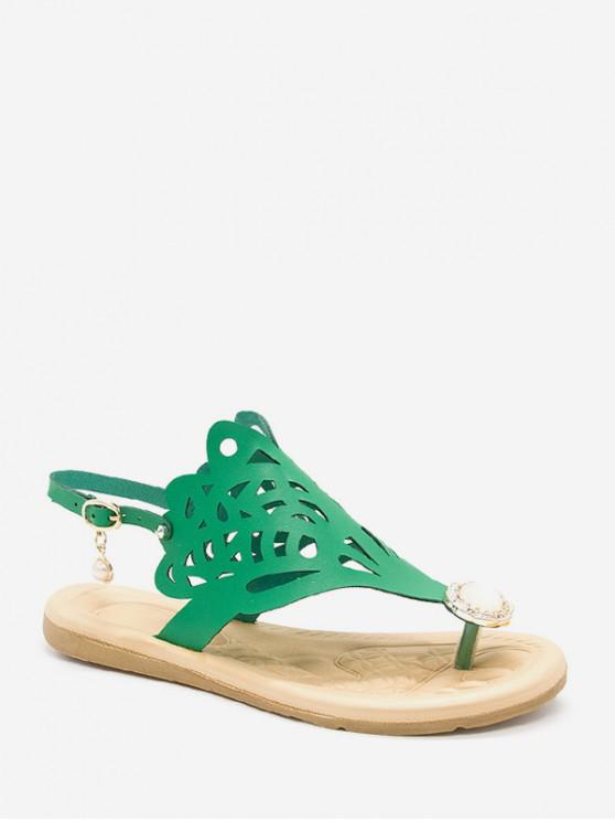 lady Hollow Out Faux Pearl Floral Thong Sandals - DEEP GREEN EU 38