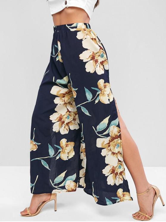 affordable High Waisted Slit Floral Wide Leg Pants - BLUE L