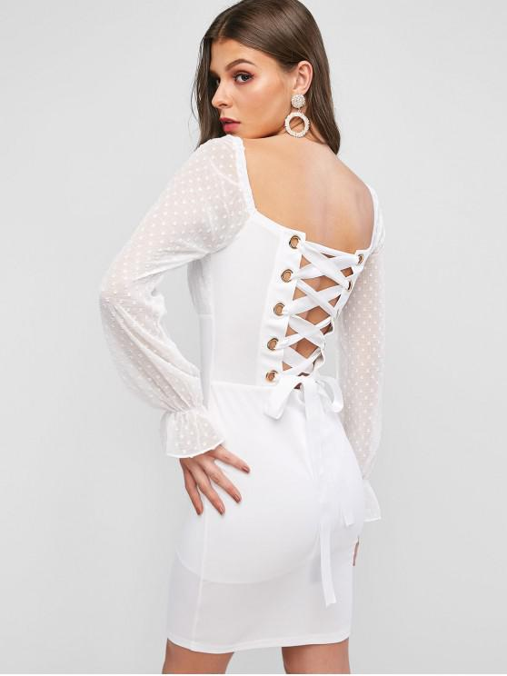 best Lace Up Back Swiss Dots Bodycon Dress - WHITE S