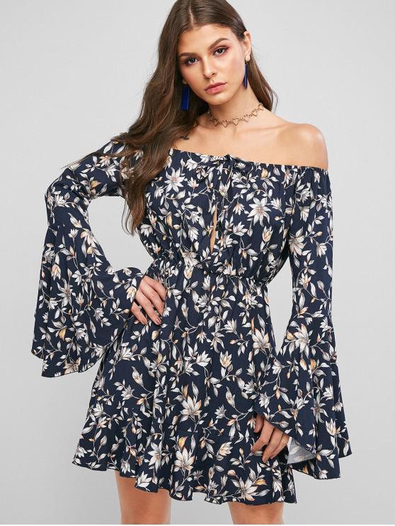 Vestido de línea de cintura alta con manga de mariposa de flores ZAFUL - Cadetblue M