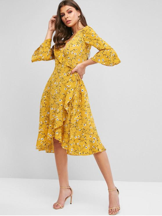 latest ZAFUL Floral Bell Sleeve Ruffle Wrap Dress - BEE YELLOW XL