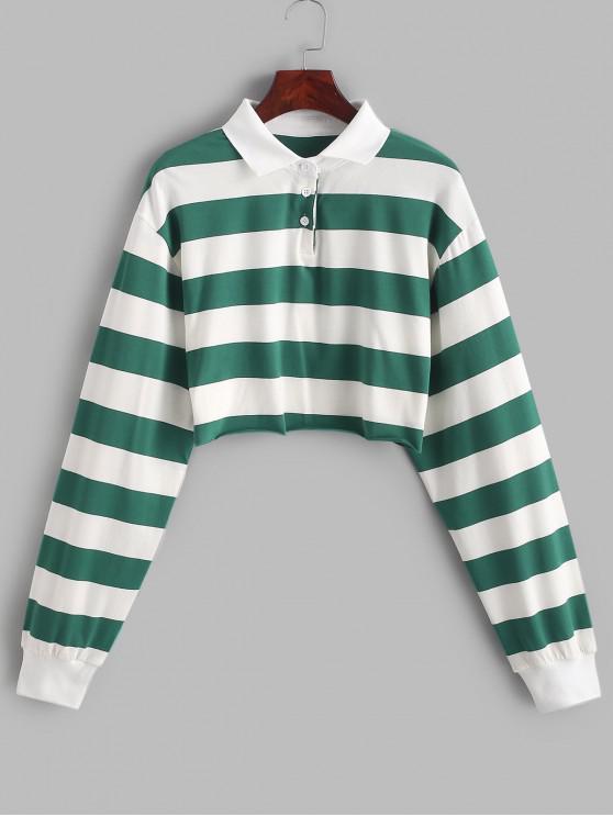 fashion Contrast Striped Crop Half Button Sweatshirt - MULTI-A M