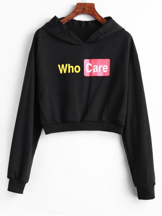 sale Who Care Graphic Drop Shoulder Crop Hoodie - BLACK XL