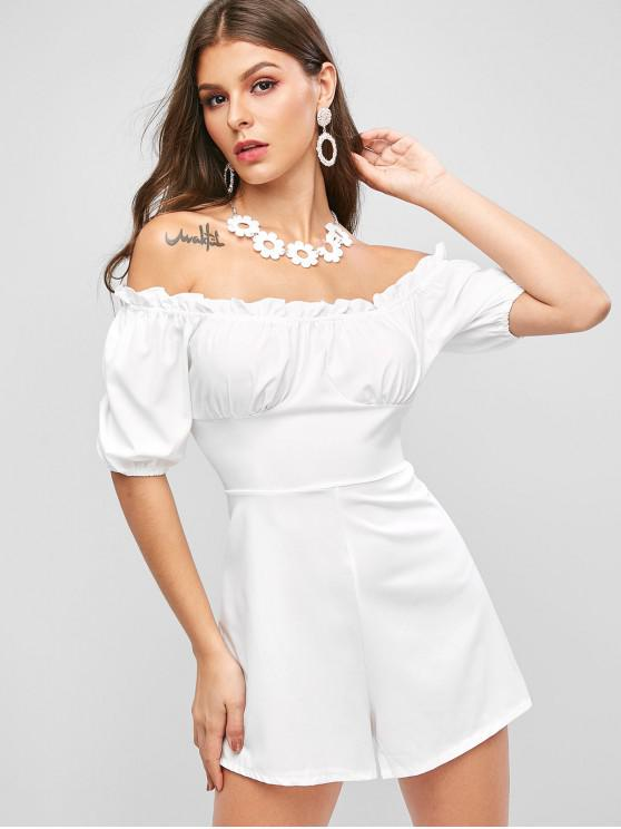 ladies Solid Off Shoulder Bustier Romper - WHITE S