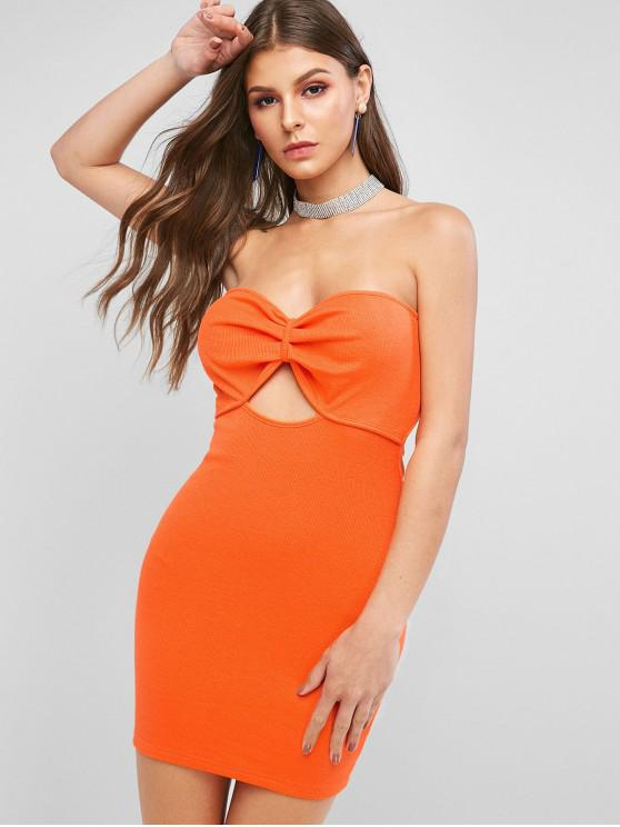 sale Keyhole Ruched Mini Bandeau Dress - PUMPKIN ORANGE L