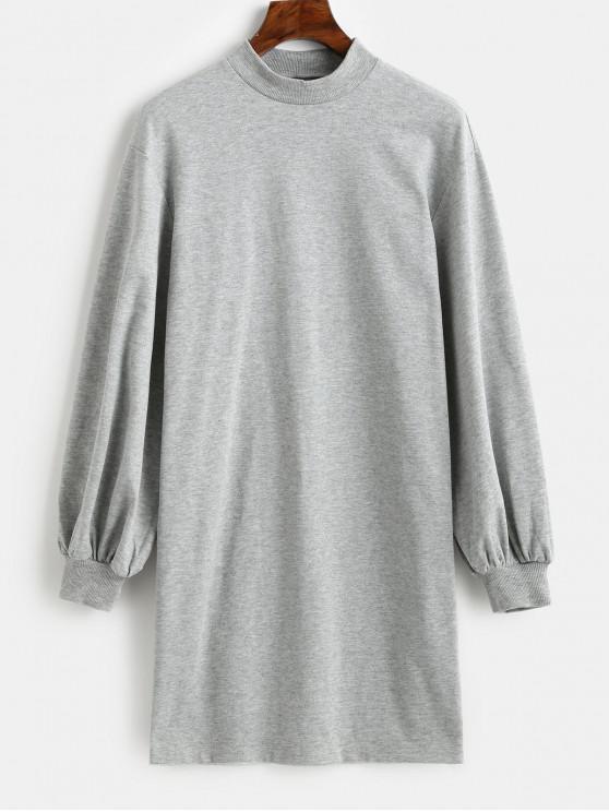 shop ZAFUL Mock Neck Long Sleeve Shift Sweatshirt Dress - BATTLESHIP GRAY M