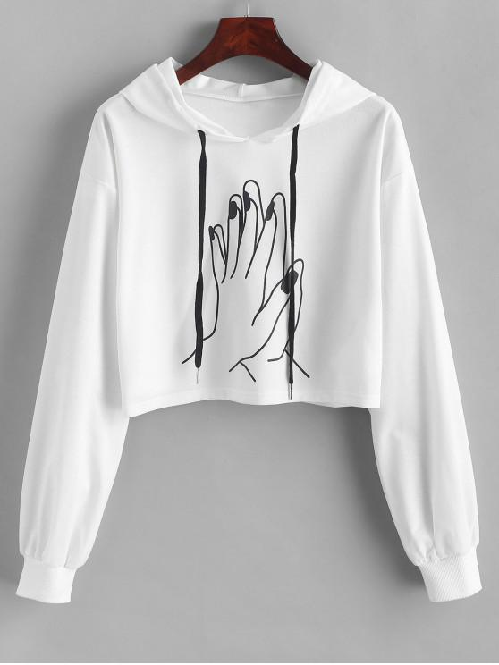 lady ZAFUL Drawstring Cropped Gesture Graphic Hoodie - WHITE S