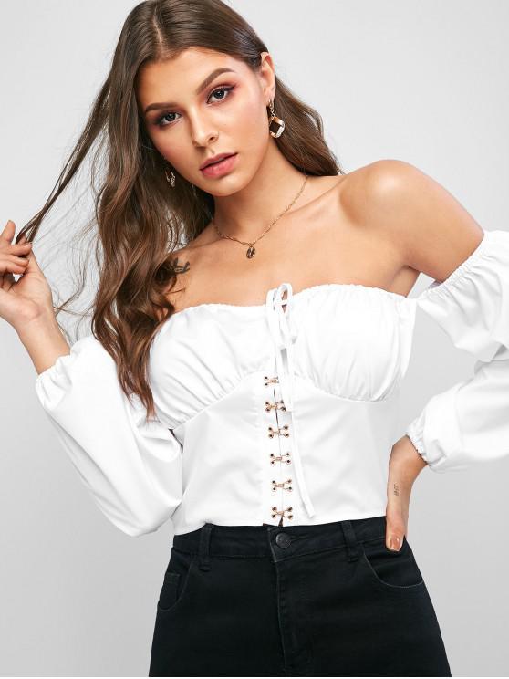 Blusa de hombro con gancho y ojo recortada - Blanco M