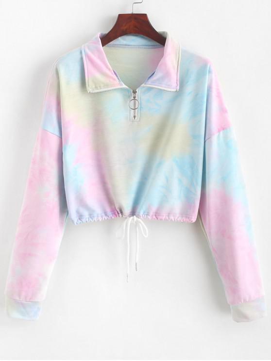 shops ZAFUL Half Zip Cropped Tie Dye Sweatshirt - MULTI-A L