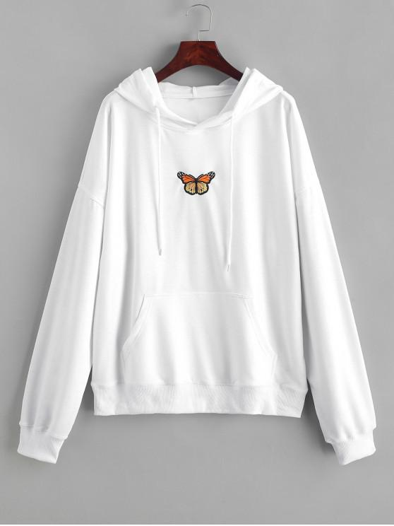 ladies Butterfly Embroidered Front Pocket Drawstring Hoodie - WHITE M