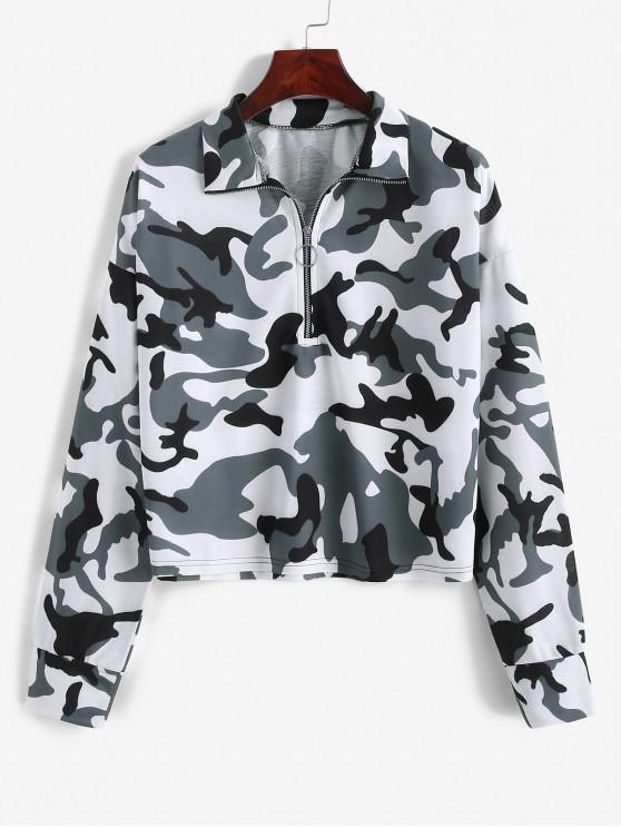 ladies ZAFUL Camouflage Half Zip Loose Sweatshirt - MULTI-C XL