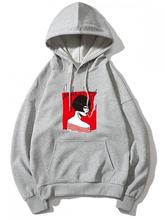women's Smoking Girl Print Hoodie - GRAY XS