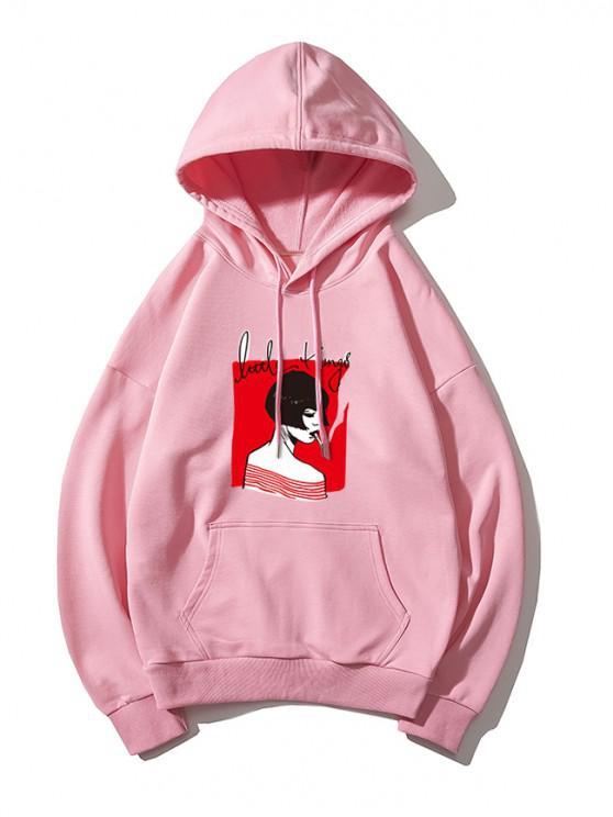 fancy Smoking Girl Print Hoodie - PINK XL