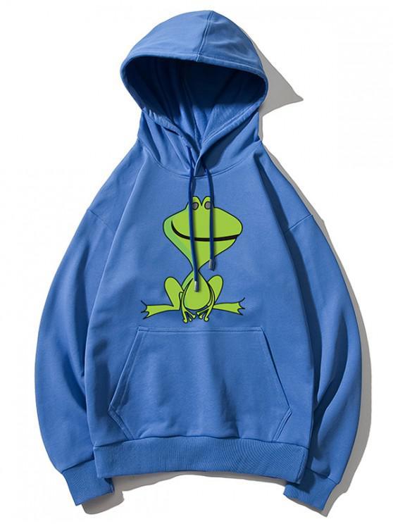 lady Cartoon Frog Print Kangaroo Pocket Hoodie - BLUE S