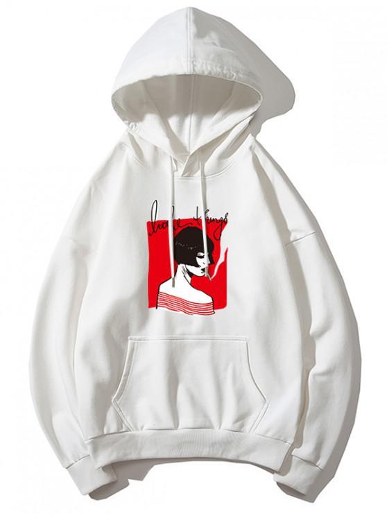 women Smoking Girl Print Hoodie - WHITE L