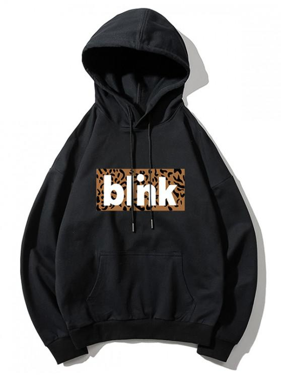 shop Leopard Printed Blink Hoodie - BLACK M