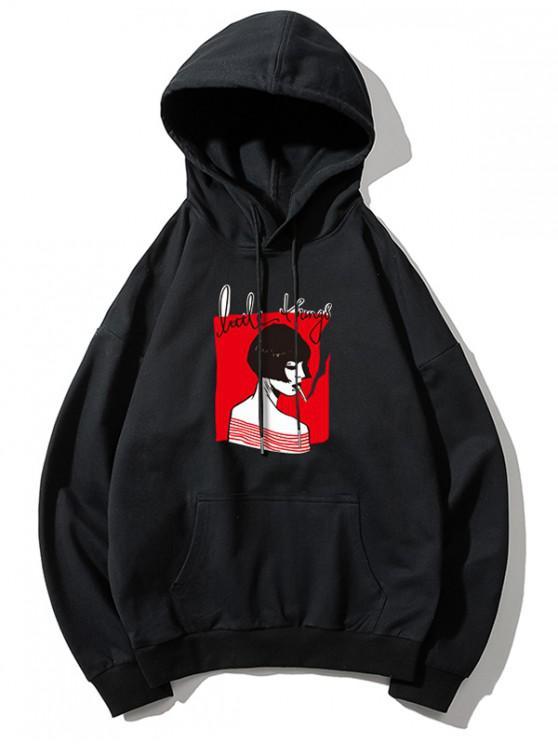 latest Smoking Girl Print Hoodie - BLACK M