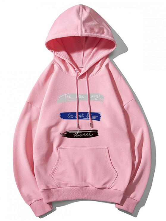 affordable Letter Print Pattern Hoodie - PINK M