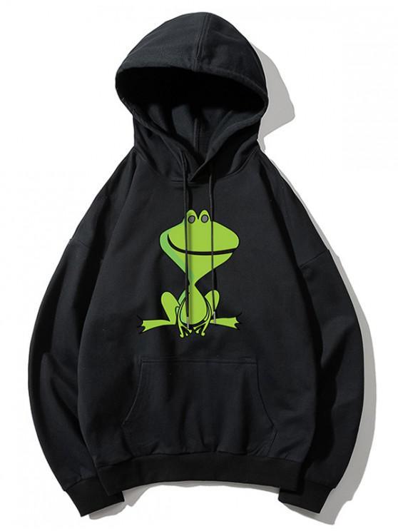 shop Cartoon Frog Print Kangaroo Pocket Hoodie - BLACK XS