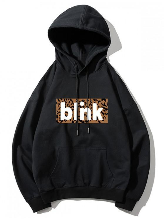 women Leopard Printed Blink Hoodie - BLACK L