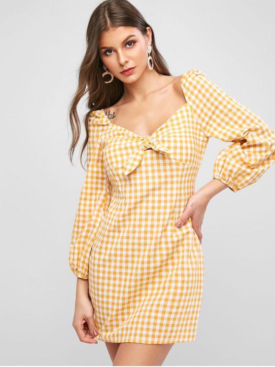 fancy ZAFUL Plaid Knot Milkmaid Dress - SUN YELLOW M