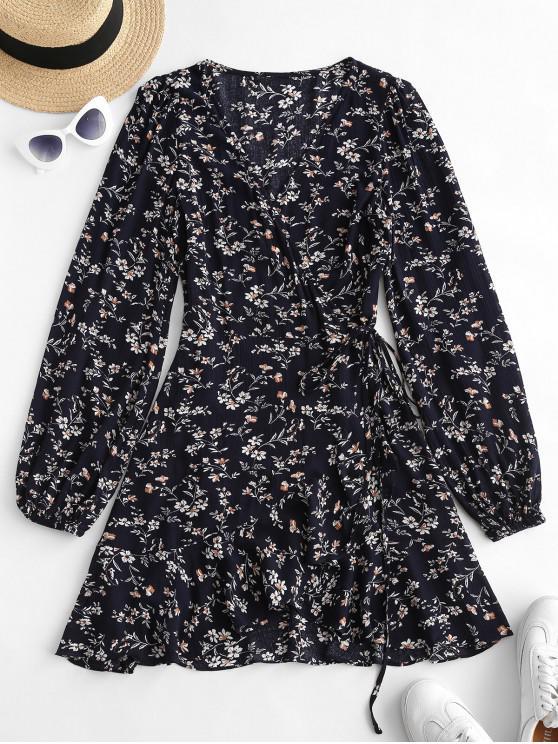 shop ZAFUL Ditsy Print Ruffle Wrap Dress - DEEP BLUE M