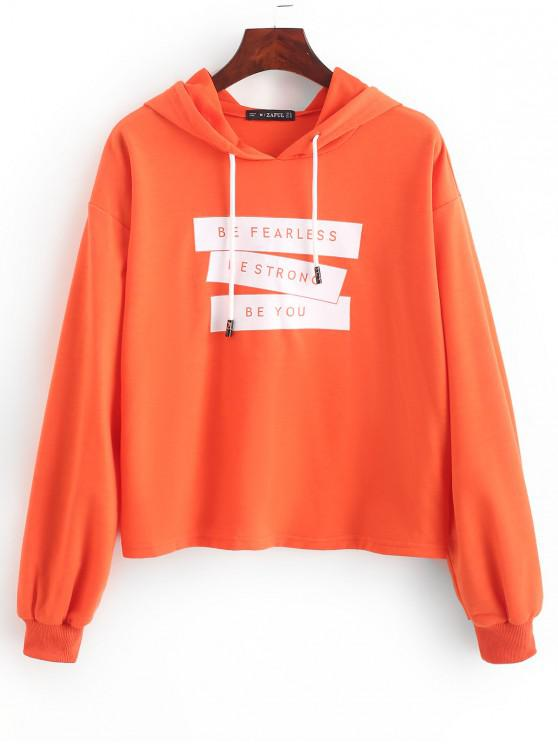 shops ZAFUL Slogan Ribbed Cuff Drawstring Pullover Hoodie - ORANGE S