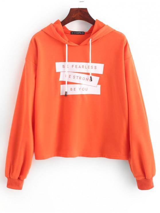 ZAFUL Slogan Ribbed Cuff Drawstring Pullover Hoodie - Orange L
