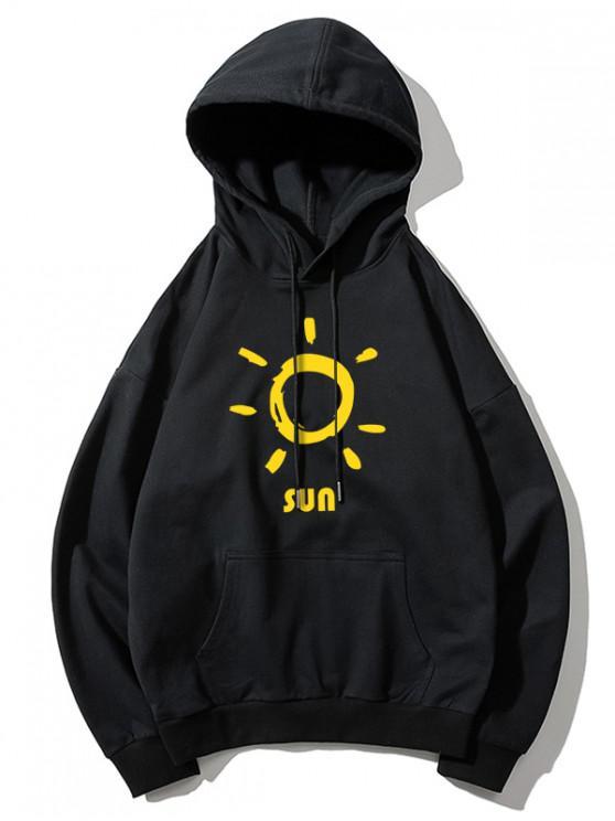 best Sun Printed Hoodie - BLACK XL