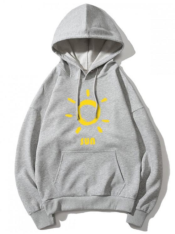 best Sun Printed Hoodie - GRAY XL