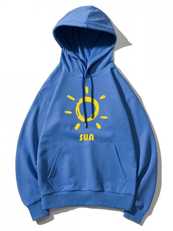 trendy Sun Printed Hoodie - BLUE XL