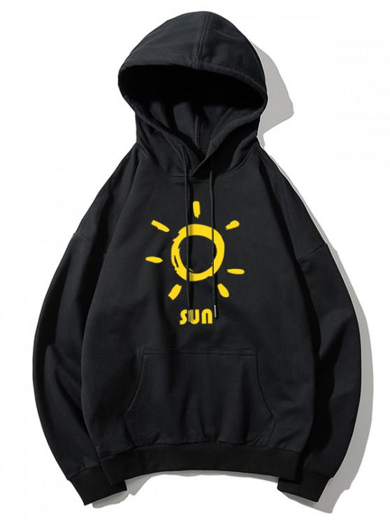 unique Sun Printed Hoodie - BLACK L