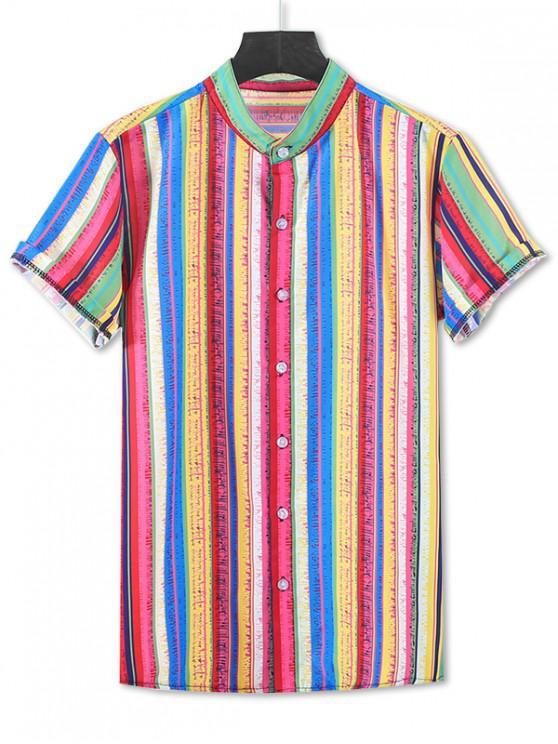 unique Colorful Striped Print Short Sleeve Button Up Shirt - ORANGE 3XL