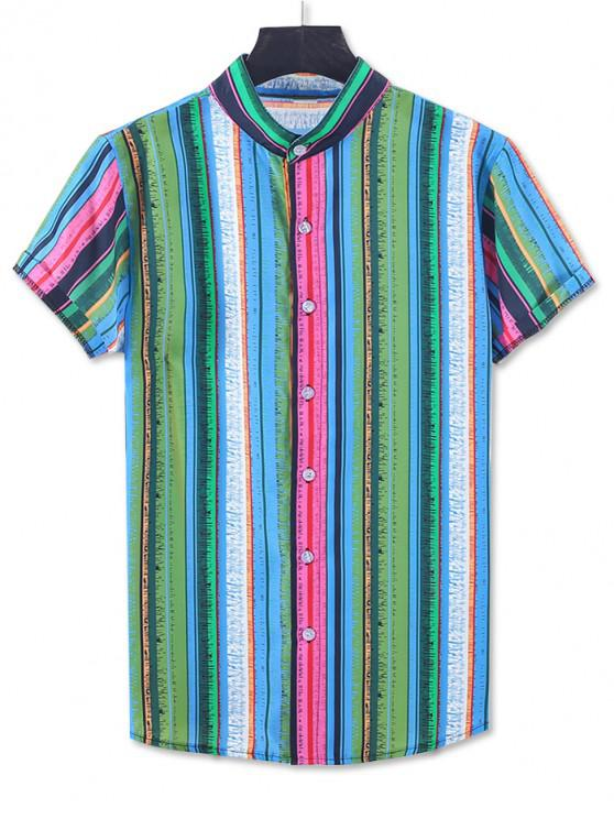fashion Colorful Striped Print Short Sleeve Button Up Shirt - GREEN 2XL