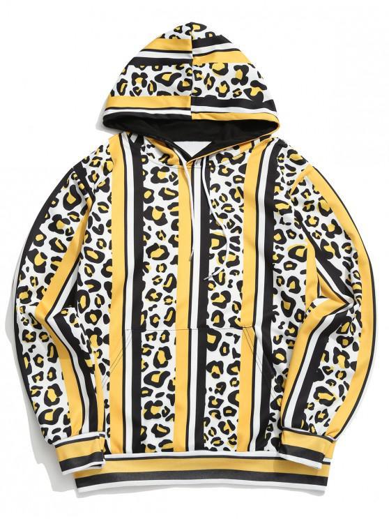 affordable Leopard Color Block Striped Print Hoodie - MULTI-C 3XL