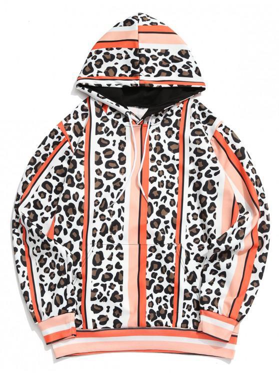 women's Leopard Color Block Striped Print Hoodie - MULTI-A L